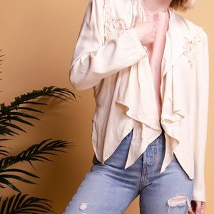 Vintage 80s beige ruffle embroidered wester jacket